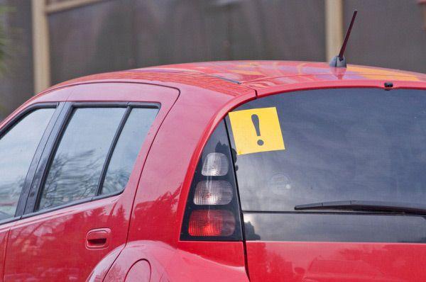 Знак «Начинающий водитель» на заднем стекле