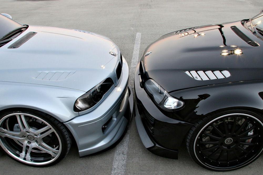 Серый и чёрный автомобиль