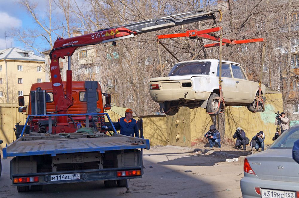 Эвакуация брошенной машины