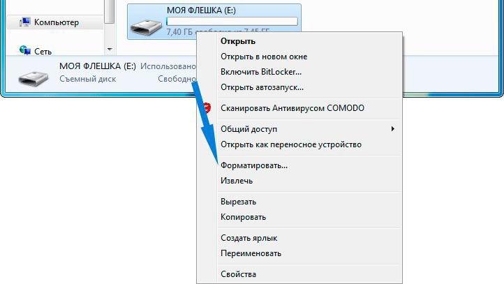 Окно форматирования флешки