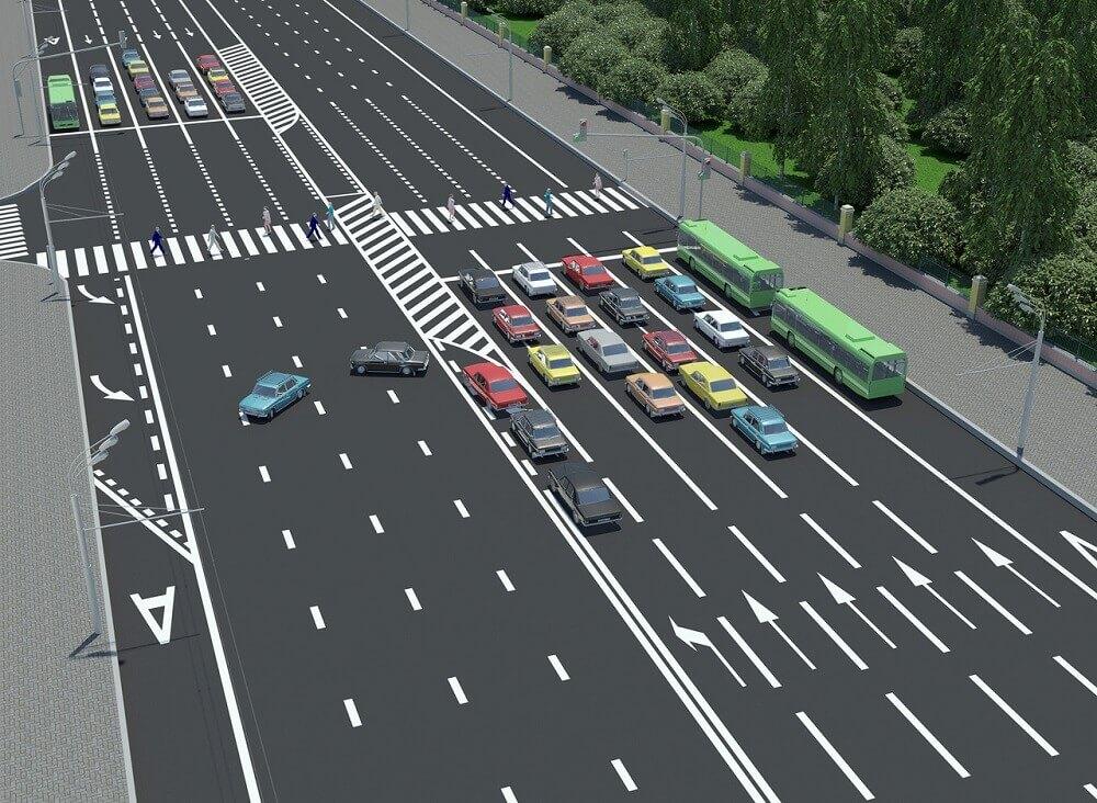Разворот на многополосной дороге