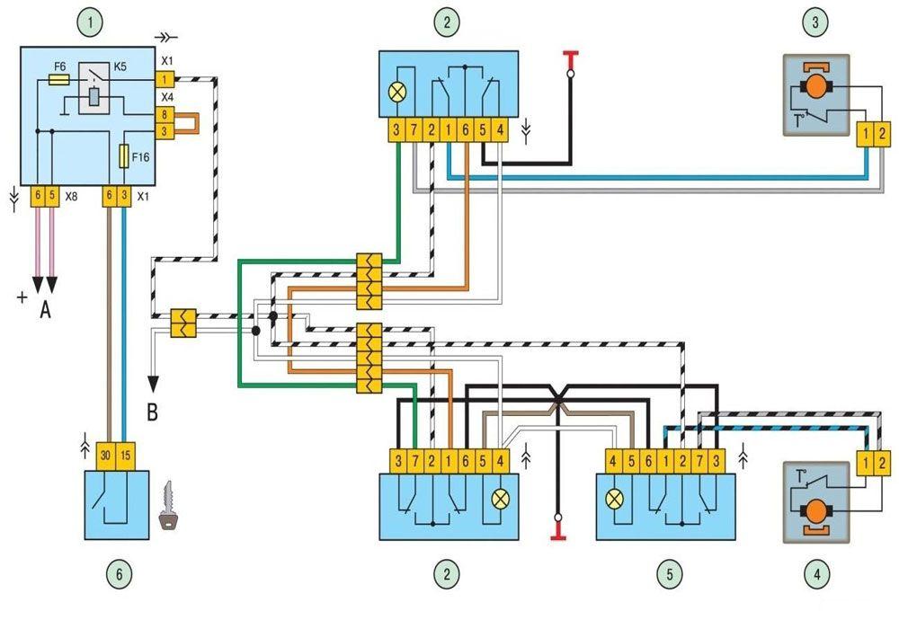 Схема подключения стеклоподъёмников