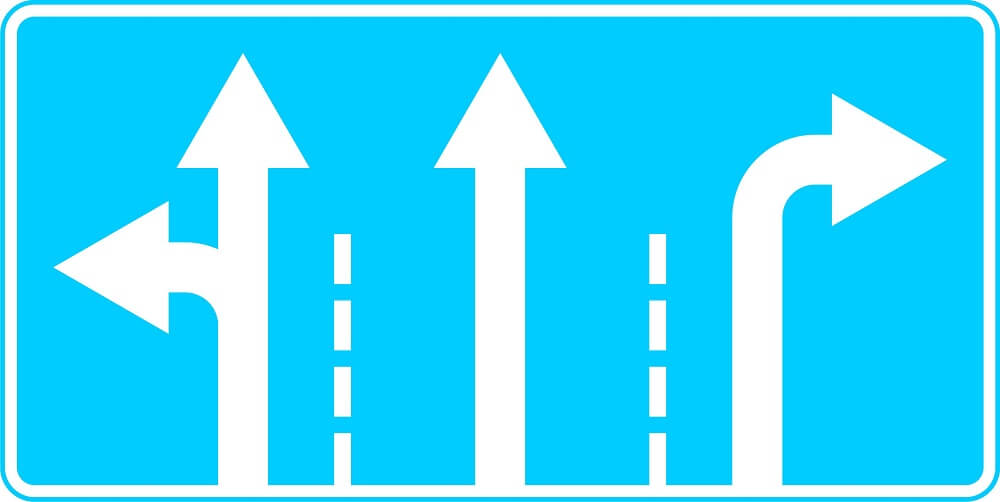 Знак направления движения по полосам
