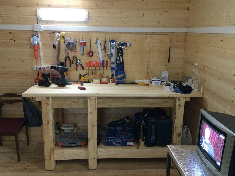 Деревянный гаражный верстак