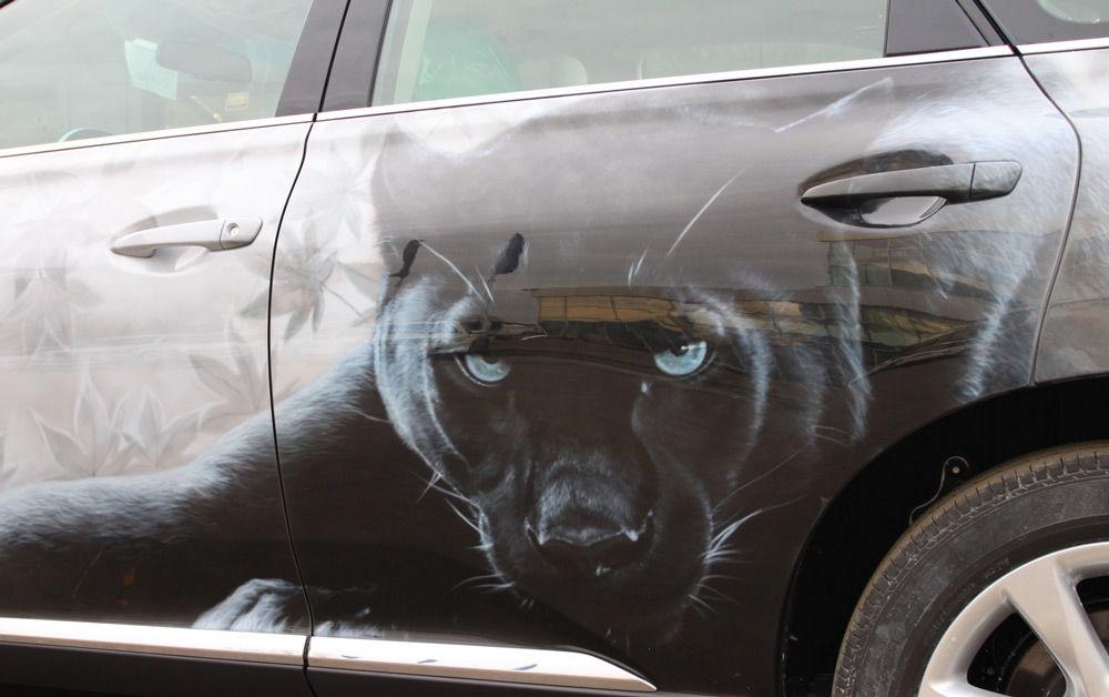 Машина с рисунком пантеры