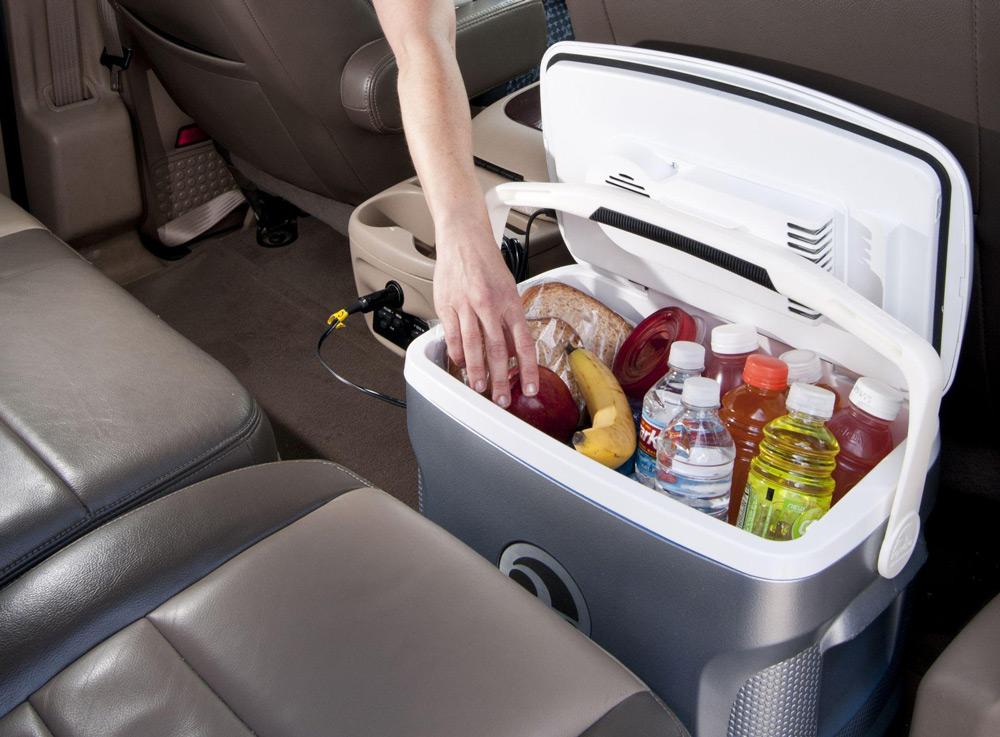 Холодильник с продуктами в машине