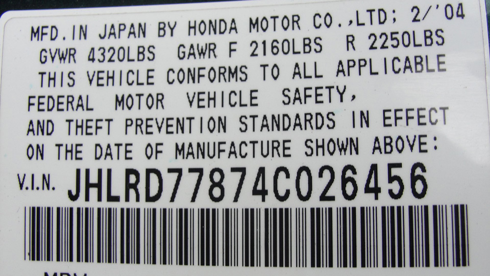 Vin-код автомобиля Honda