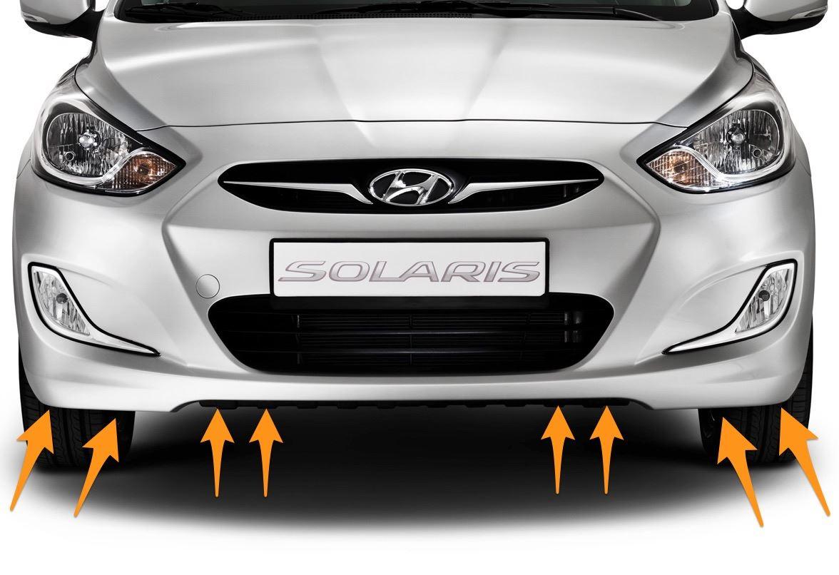 Места крепления бампера Solaris