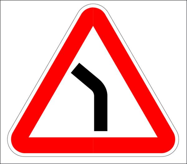 Дорожный знак опасного поворота
